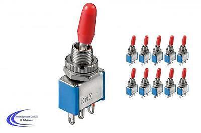 10 Stück Miniatur Kippschalter - rastend - (Umschalter Ein / Ein) 3A 250 V