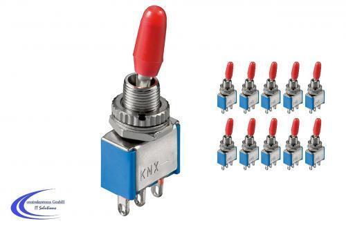3A 250 V rastend - 10 Stück Miniatur Kippschalter Umschalter Ein // Ein