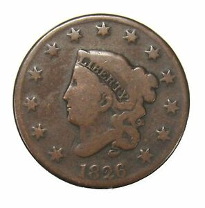 1826 Coronet Head Large Cent 1¢ Circulated