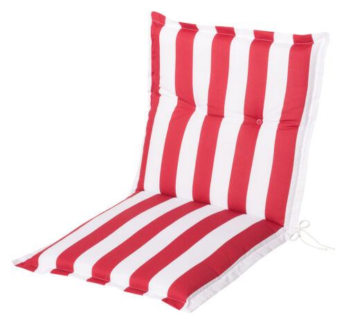 Gartenstuhlauflagen Sitzauflagen Auflagen für Niedriglehner Streifen rot weiß