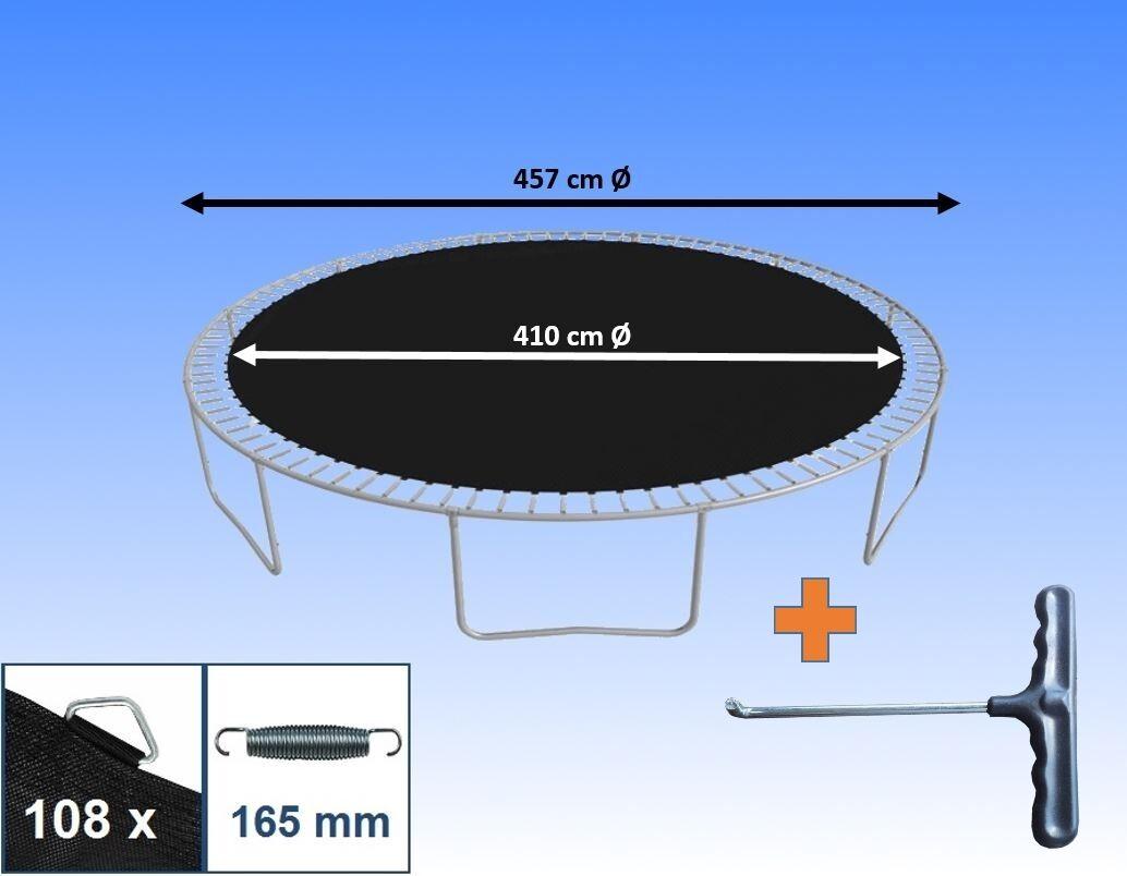 Sprungtuch Sprungmatte für Trampolin Ø 457 cm 108 Ösen Federn 16,5cm Ersatzteile