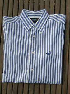 Chemise Façonnable n°05 bleu blanc à rayures manches longues taille 40 15 1/2