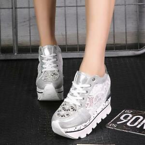Womens Fashion Athletic Lace Hollow Out Running High Tops Casual Shoes us 4.5-8