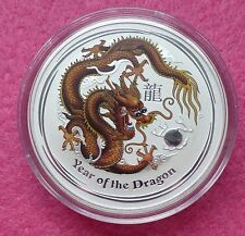 2012 Australia Año Lunar Del Dragon-Brown 1 Oz Plata $1 BU moneda