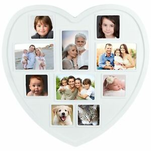 New White Hanging Heart Shaped Large Photo Frame Multi Picture Love