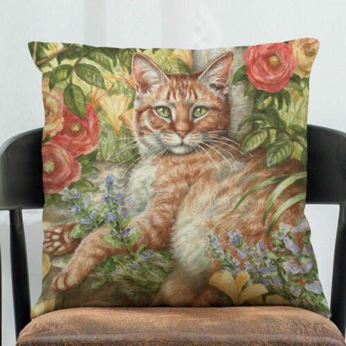 "18/"" Cat Pattern Cotton Linen Square Home Decorative Pillow Case Cushion Cover"