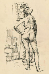 Peter Collins ARCA - c.1970s Pen and Ink Drawing, Nude in an Interior