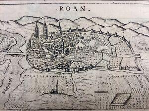 Rouen In 1713 Normandy Rare Engraving And Plan De La City Of Rouen Ebay