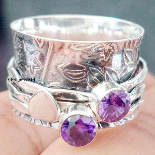 Amethyst Gemstone 925 Sterling Silver Ring Spinner Band Handmade Jewelry Gd9784