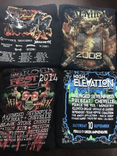 4 Rock Festival Concert T-Shirt Sz L Mayhem Avenge