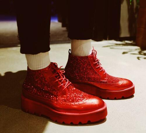 Mens Up Lace chaussures Creeper Stage wepip Oxford Fashion Glitter sculptées britannique m8nvN0w