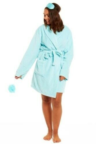 Eye Mask /& Exfoliator Sponge Green Ladies Soft Fleece Dressing Gown Bath Robe
