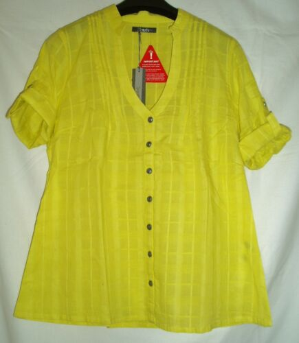 SOUTH COTTON 3//4 ROLL UP SLEEVE BLOUSE SHIRT TUNIC TOP YELLOW PINK SIZE 10