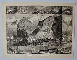 Elm-Glarus-Bilderbogen-vom-Bergsturz-Dekorativer-Stich-C-Jauslin-1882