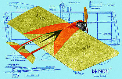 Model Airplane Plans .19-35 Control Line Combat THE DEMON Full Size Printed plan