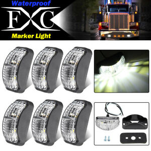 6-X-LED-Clearance-Lights-Side-Marker-Lamp-White-Trailer-Truck-Caravan-Multi-Volt