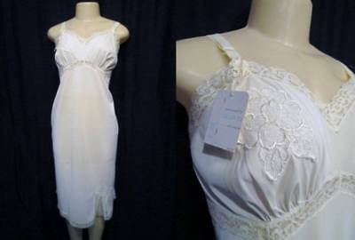 Slips The Cheapest Price White Nylon Tricot Full Slip Lace 38 Nos New Vintage 50s Mojud #1074t Tall Lace To Help Digest Greasy Food