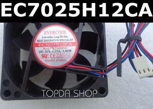 EVERCOOL-EC7025H12CA-Ball-bearing-cooling-fan-DC12V-0-25A-3-00W-70-70-25mm-3wire