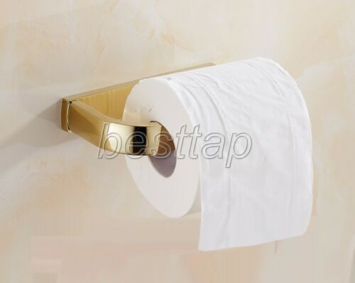 Gold Color Brass Wall Mounted Toilet Paper Holder Tissue Roll Rack sba848