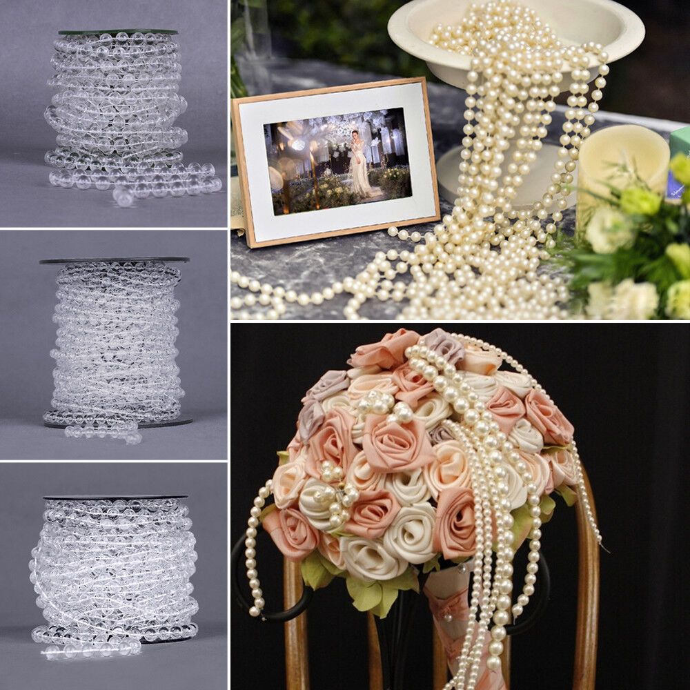 DIY Acrylic Roll of Bead Strand Garland Curtain Wedding Xmas Decoration 10m 20m