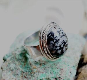 Silberring-67-Schneeflockenobsidian-Handarbeit-Kordel-Silber-Ring-Schwarz-Weiss