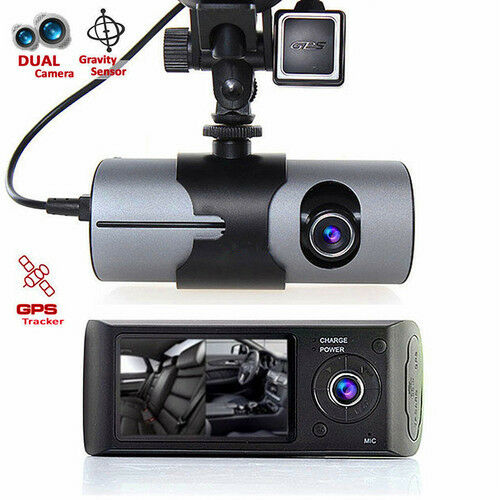 "R300 Dual Lens Dash Cam 2.7/"" Full HD Car DVR Camera Video Recorder w// GPS Logger"