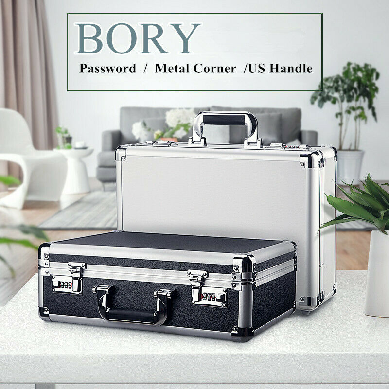 Aluminum Hard Case BigCapacity Password Dual Lock Mens Briefcase with Net Pocket