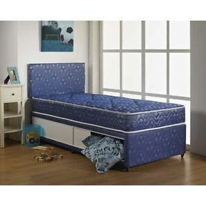 3ft Single Kids Children Blue Football Divan Bed Quilted Mattress Storage Ebay