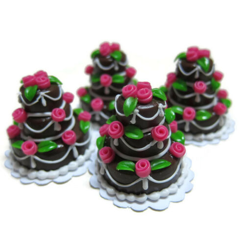 1X Tiny Chocolate Wedding Cake Rose Top Dollhouse Miniatures Food Supply Deco