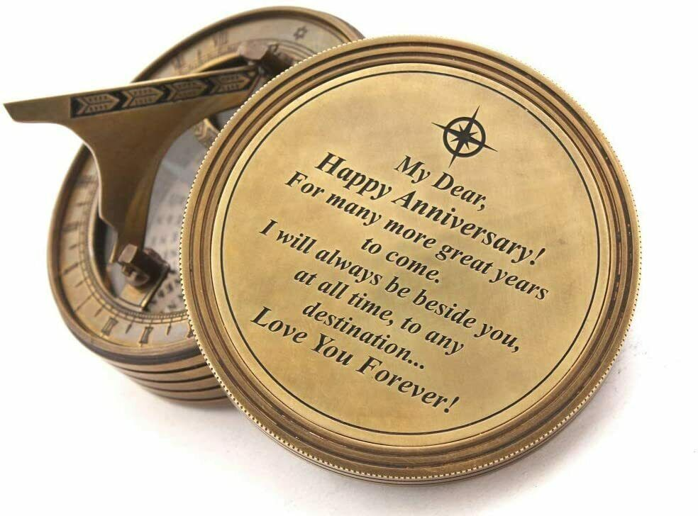 Brass Sundial Compass With Cover- My Dear Anniversary Personalized Engraved