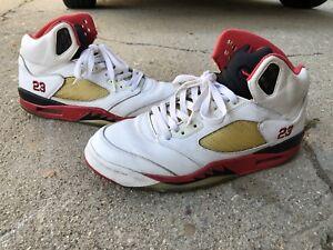 e71e99634d69 Nike Air Jordan Retro V 5 Fire Red White Black 136027-162 Used Sz 9 ...