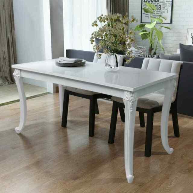 Vidaxl Dining Table 45 7 High Gloss White Dinner Table Home