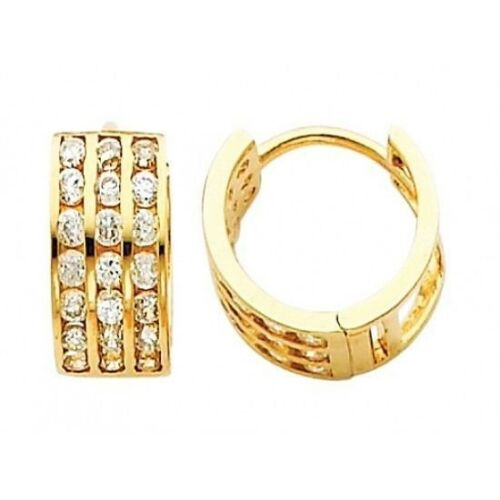 Three Row Round Huggie 5mm 14k Yellow Gold Hoop Simulated Diamond Earrings 1//2/""
