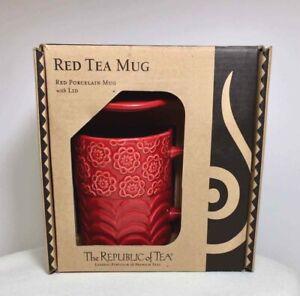 Republic-of-Tea-RED-8-OZ-MUG-Steep-Lid-COASTER-Embossed-FLORAL-Porcelain-NIB