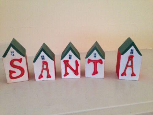 "NEW Primitive wood 1 1//2/"" block house Santa /& reindeer shelf sitters"