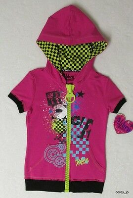 NWT L 12 14 Avril Lavigne ABBEY DAWN Hot Pink Rock Huge Zipper Hoodie S/S Jacket