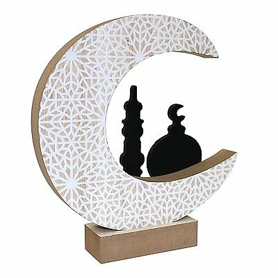 Wooden Artistic Eid Mubarak Party Serving Tableware Tray Display Wood Decoration