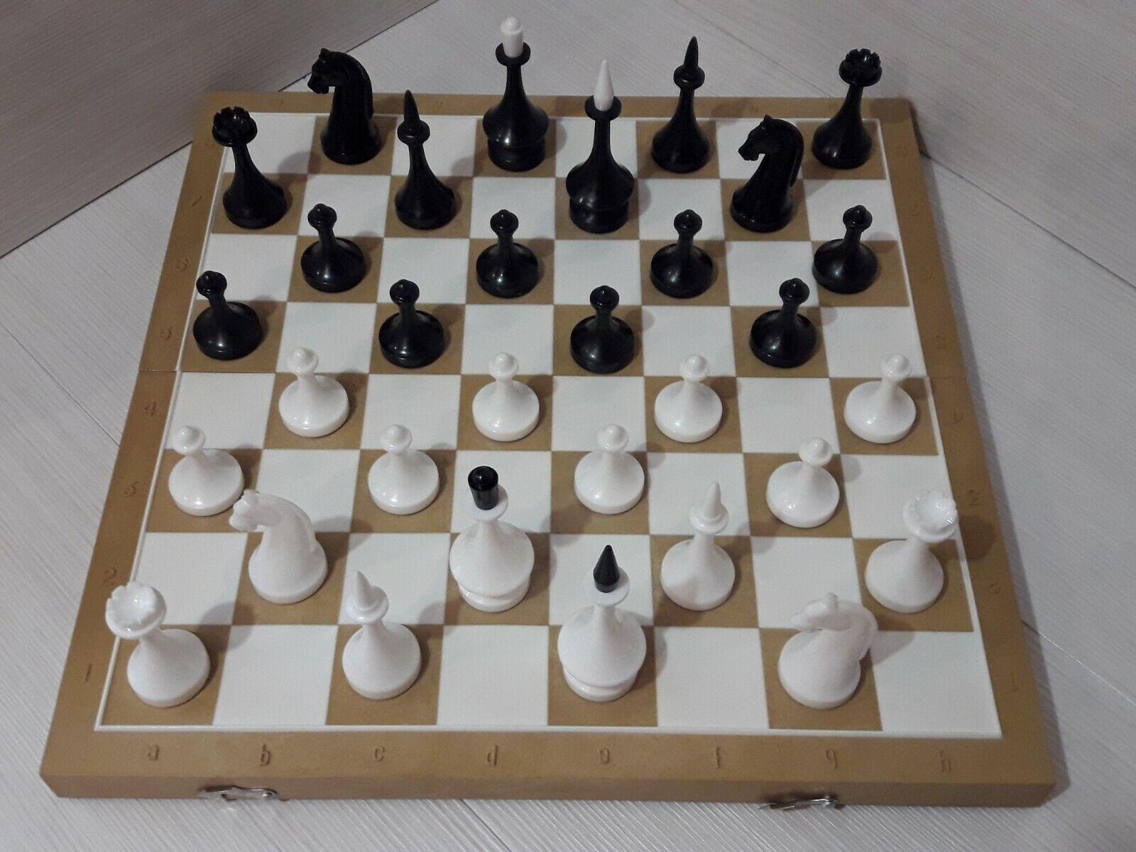 USSR Vintage Chess Soviet Union Ukraine , Plastic Chess Full Set . Rare