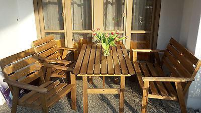 Gartensitzgarnitur Gartenmöbel Garten Sitzgruppe Holz Sitzgarnitur Tisch Bank