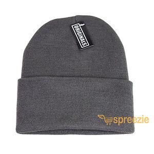 76938add2e0 Grey Beanie Plain Knit Ski Hat Skull Cap Cuff Warm Winter Blank ...