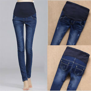 Women-039-s-Maternity-Pregnant-Jeans-Pants-Elastic-Cotton-Belly-Legging-Trousers-New