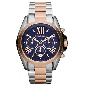 02cd8a3debb40 New Michael Kors Bradshaw Silver Rose Gold Navy Chronograph MK5606 ...