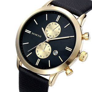 Fashion Men Business Luxury Waterproof Date Leather Military Japan Wrist Watch by Unbranded