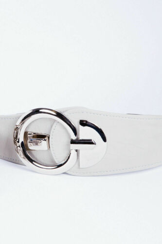 White Silver Buckle Belt Womens Stretch Belts Accessories