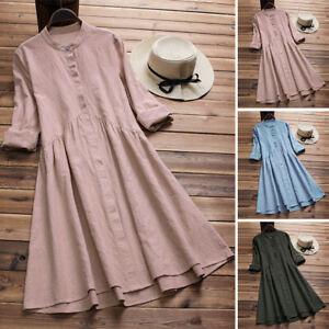 ZANZEA-Femme-Belle-Col-rond-Manches-longues-Short-Dress-Robe-Chemise-Plus-Size