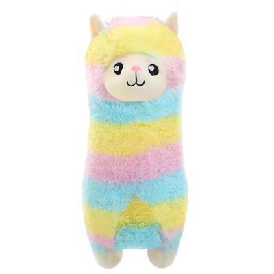 Winsterch Fluffy Soft Plush Toy Rainbow Alpaca Stuffed Llama Animal 11.8 inches
