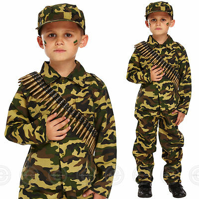 BOYS ARMY FANCY DRESS COSTUME SOLDIER OUTFIT UNIFORM MILITARY CHILDS KIDS NEW