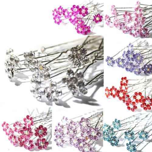 10x Chic Crystal Diamante Strass Hochzeit Braut Blume Haarspange Pins Sg