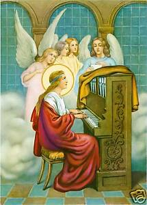 Catholic-Print-Picture-ST-CECILIA-w-Angels-MUSIC-ready-to-frame