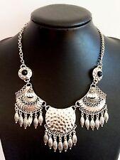 Pluma De Plata Estilo Vintage Bohemio Gypsy tibetano Borla Collar mexicano